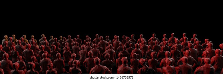 Back view of crowd in theater or cinema sitting together black background 3d render
