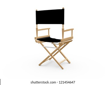 Back view of directors chair in film industry, isolated on white background.