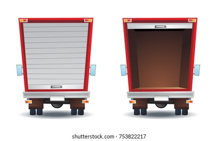 Back view of an empty cartoon truck with door open and closed