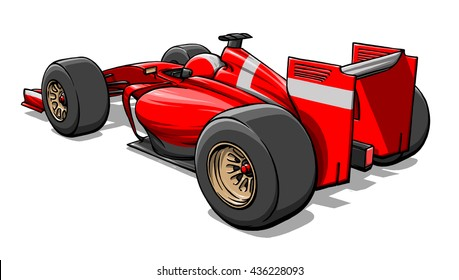 back view funny fast cartoon formula race car illustration art