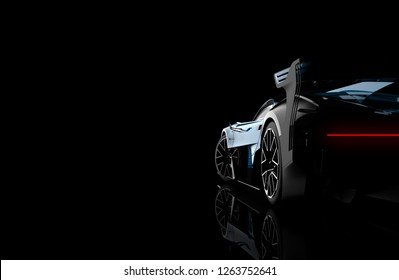 Back view of a generic and brandless modern car on a dark background, 3d illustration