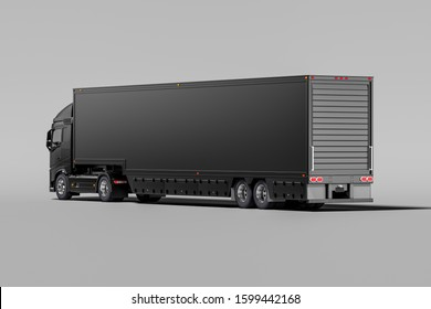 Back View Of Powerful Black Semi Truck With Empty Space On Refrigerator For Long Haul Delivery. 3d rendering