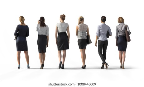 Back view of standing business woman. Illustration on white background, 3d rendering isolated.