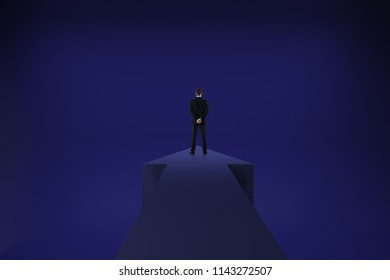 Back view of young businessman standing on arrow on abstract dark blue background. Growth and choice concept. 3D Rendering