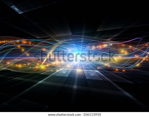 Backdrop of abstract sine waves and design elements on the subject of modern computing, virtual reality and signal processing