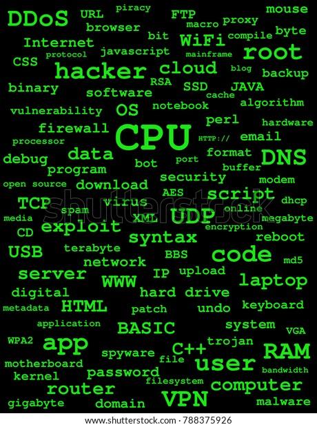 Backdrop Computer Hacker Related Keywords Green ภาพประกอบสต็อก 788375926