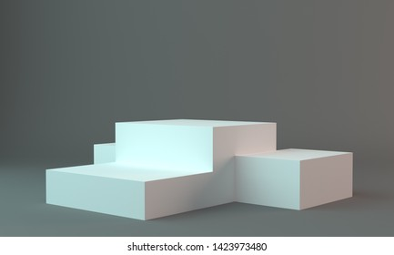 Backdrop With Cube Stand With Space To Display Products. Dark Background Template.3D render
