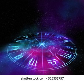 Backdrop design of sacred zodiac symbols, signs, geometry and designs  represent concept of  astrology, alchemy, magic, witchcraft and fortune telling