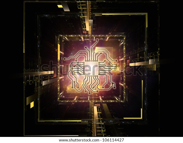 Backdrop design of technology and abstract design elements to provide supporting composition for illustrations on modern computing, virtual reality and digital processing