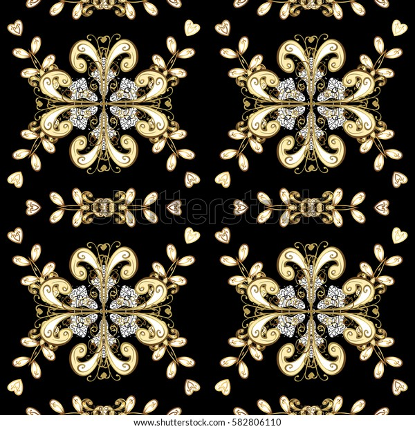 Backdrop, fabric, gold wallpaper. Golden pattern on black background with golden elements. Flat hand drawn vintage collection. Golden seamless pattern.