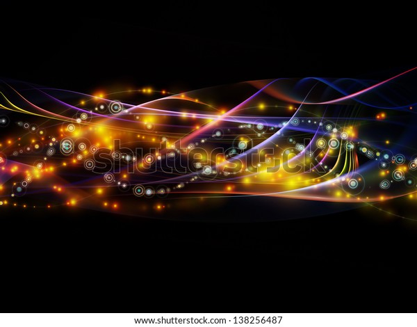 Backdrop of lights, fractal and custom design elements on the subject of network, technology and motion