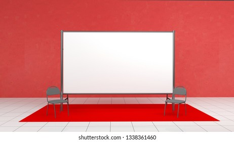 Backdrop, press banner 2x4 meters with red carpit. 3d render template. Mockup