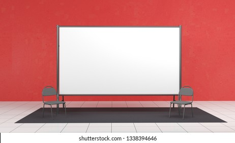 Backdrop, press banner 2x4 meters with red carpit. 3d render template. Mockup on red wall