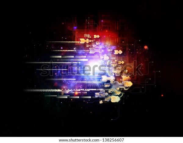 Backdrop of  symbols, lights, fractal elements to complement your design on the subject of digital communications, science and virtual cloud technology