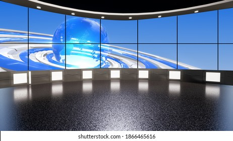 Backdrop For TV Shows .TV On Wall.3D Virtual News Studio Background, 3d illustration