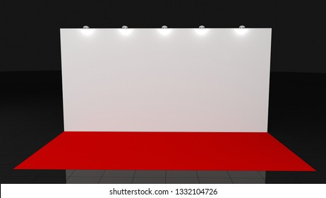 Backdrop withred carpet 3x6 meters. 3d render for your deisgn, Mockup. Template