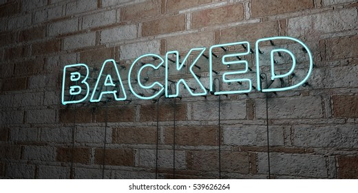 BACKED - Glowing Neon Sign on stonework wall - 3D rendered royalty free stock illustration.  Can be used for online banner ads and direct mailers.