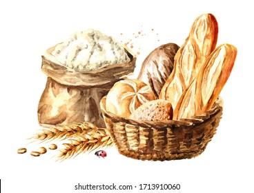 Backery concept. Basket with fresh pastries with wheat ears, grains and flour. Hand drawn watercolor, illustration isolated on white background
