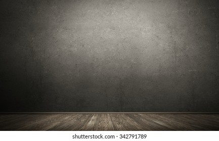 Backgound image of cement wall and wooden floor