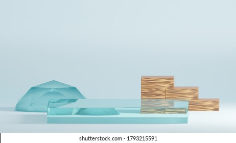 Background 3d blue rendering with a podium and minimal blue glass and wood wall scene, minimal abstract background 4k 3d rendering illustration abstract geometric shape blue pastel color.