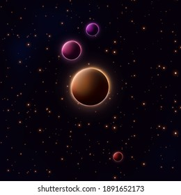 background 3d illustration of cosmos planets with liquid digital art texture in dark space with stars and beautiful colors of universe