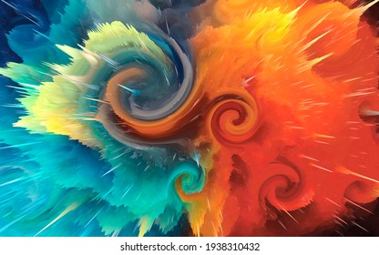 Background of abstract explosion color ink splashing technology conference
