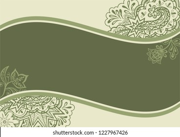 Background with Abstract Floral Outline Calligraphic Pattern, Symbolic Flowers and Leafs.