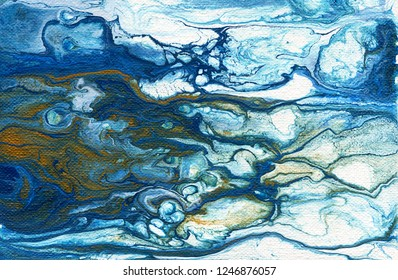 Background. Abstract illustrations of liquid colored acrylic. Blue, white, gold, yellow. Acrylic on cardboard. Wallpaper. Screensaver for smartphones, tablets