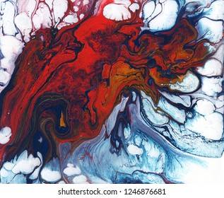 Background. Abstract illustrations of liquid colored acrylic. Red, blue, white, gold. Acrylic on cardboard. Wallpaper. Screensaver for smartphones, tablets