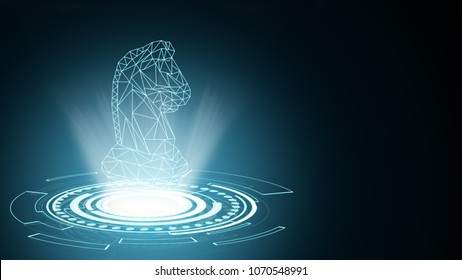 Background of abstract knight horse chess symbol. Present young and powerful professional future business innovation strategy thinking planning concept leading to successful challenge decision