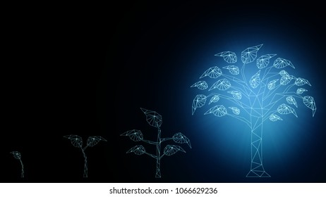 Background of abstract startup Business growth transformation innovation to digital. Successful financial technology seeding and expanding to future business investment, interest and profit