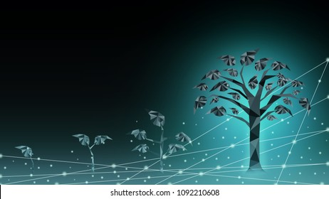 Background of abstract tree life cycle fast growing transformation from young to adult. Use in business innovation to digital. Successful future financial technology fintech development banking