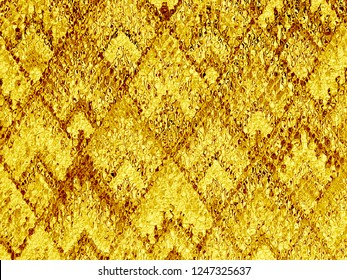 background of Asian traditional pattern glassy in shiny golden color, colorful layer of  trapezoid emboss mosaic pattern background