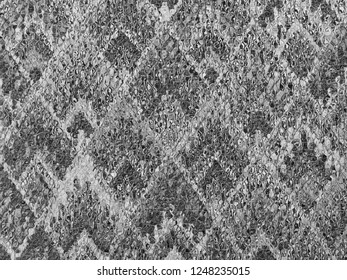 background of Asian traditional pattern glassy in silver gray and white color, colorful layer of  trapezoid mosaic pattern background