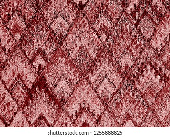 background of Asian traditional pattern glassy in shiny pink gold and red color, colorful layer of emboss trapezoid mosaic pattern background