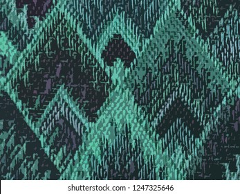 background of Asian traditional pattern in matte green and purple color, colorful layer of trapezoid graphic pattern background