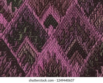background of Asian traditional pattern in matte pink and brown color, colorful layer of trapezoid graphic pattern background