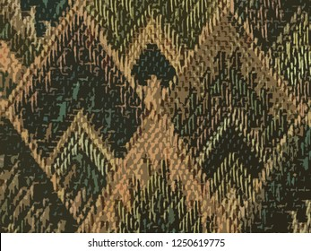 background of Asian traditional pattern in matte green and brown color, colorful layer of trapezoid graphic pattern background