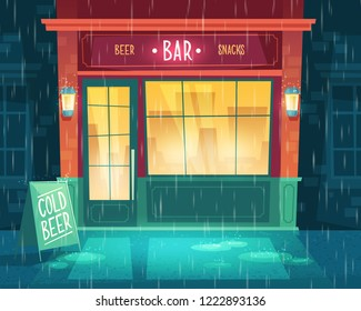 background with bar at bad weather, rain. Facade of building with illumination, signboard. Entrance of fast food taproom with beer and snacks. Outdoor architecture background
