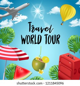 background with beach and travel elements. Tourism. Traveling around the world. Background for travel agent, travel advertising, for web sites about tourism.