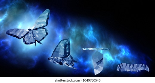 Background of beautiful abstract Business transformation innovation. For digital technology transform like butterfly life. Display on space concept suitable for success future business growth
