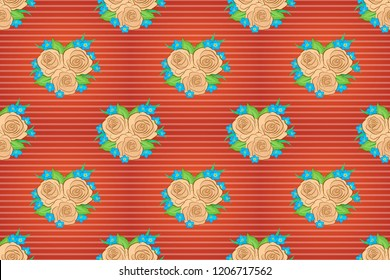 Background of a beige, pink and orange painted roses with green leaves. Raster floral seamless pattern.