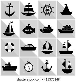 background with black sea transport. Raster version