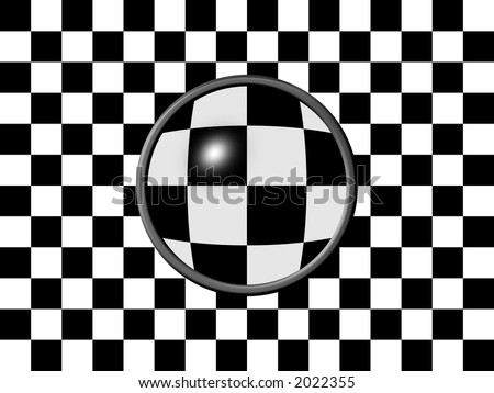 Background with black and white checkered pattern with magnifier and focusing effect