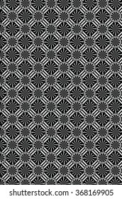 A background with black and white diagonal lines, circles and diamonds. Within each intersection of diagonal lines is a circular medallion and diamond shapes with wavy lines radiating out.