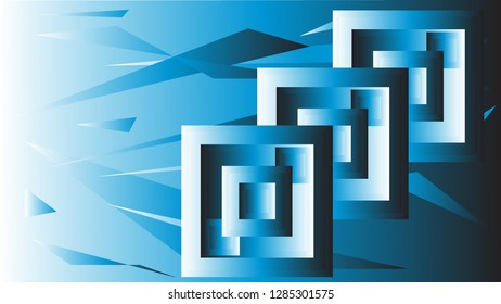Background with blue squares and triangles.