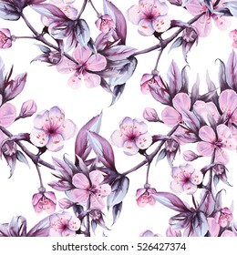 Background branch with pink cherry flowers. Seamless pattern. Pattern for fabric. watercolor illustration.