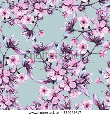 Background branch with pink cherry flowers seamless pattern pattern for fabric watercolor illustration