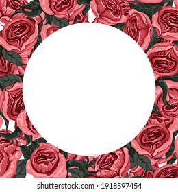Background of bright pink peonies with copy space.