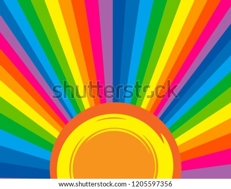 Background of a brightly coloured rainbow perspective rays with an abstract sun.